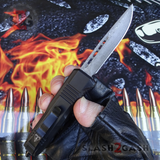 "Damascus OTF Switchblade Knife D/A Small 7"" Delta Force Bullet HK Automatic Knives - Drop Point slash 2 gash"