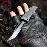 "Delta Force OTF Knife Small 7"" Grey Commando - Black D2 Tanto Serrated Automatic Switchblade Gray"