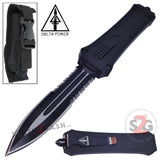Delta Force OTF Crypt Keeper Dual Action Black Tactical Automatic Knife Dagger Serrated Switchblade