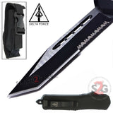 Delta Force OTF Recon D/A Black Tactical Automatic Knife Switchblade - Tanto Serrated