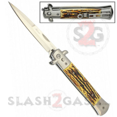 Diablo Stiletto Automatic Knife Milano Switchblade - Faux Stag Horn