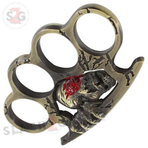 Doomsday Hunter Zombie Skull Brass Knuckles Paperweight Heavy Duty Belt Buckle