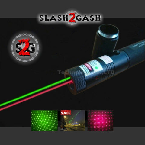 Dual Laser Pointer Pen Green + Red Military Grade 10 Miles + Star Cap + Battery + Charger 532nm