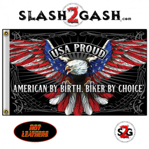 USA Proud Patriotic Eagle Flag 3 x 5 American By Birth, Biker By Choice Hot Leathers FGA1069