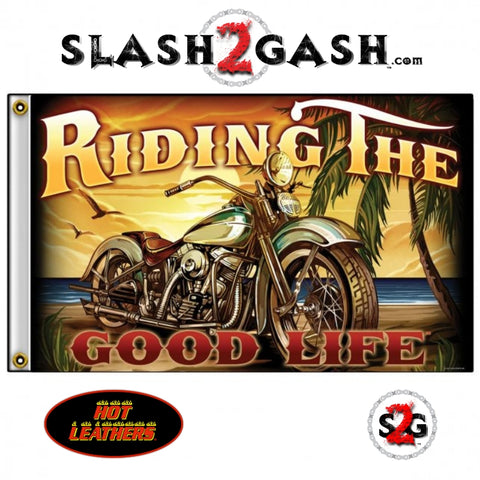 Riding The Good Life Biker Flag 3 x 5 Chopper On The Beach Hot Leathers FGA1070