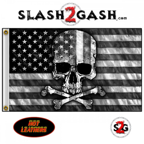 Gray Skull Flag 3 x 5 w/ Grey American Flag & Crossbones Hot Leathers FGA1073