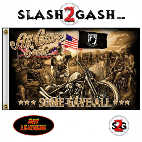 Remembrance Motorcycle Biker Flag 3 x 5 All Gave Some POW MIA Salute Hot Leathers FGA1074
