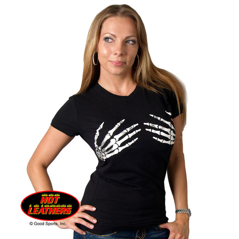 Hot Leathers Ladies Skeleton Hands Biker Tee
