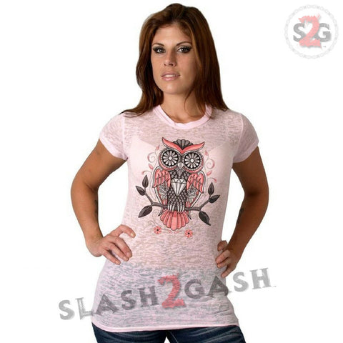 Hot Leathers Sugar Owl Classic Cut Ladies Burnout Tee