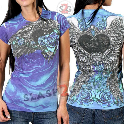 Hot Leathers Angel Roses Wings Allover Sublimation Ladies T-Shirt