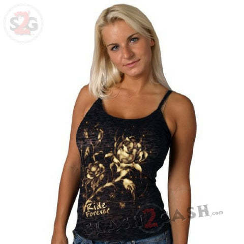 Hot Leathers Ladies Bleach Roses Burnout Tank Top Ride Forever