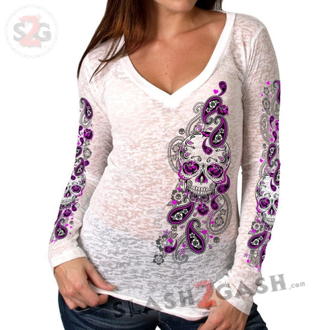 Hot Leathers Women's Sugar Paisley Burn-Out V-Neck Long Sleeve Shirt