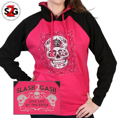 Hot Leathers Sugar Skull Raglan Sweat Shirt Ladies Pull Over Pink Hoodie slash2gash S2G