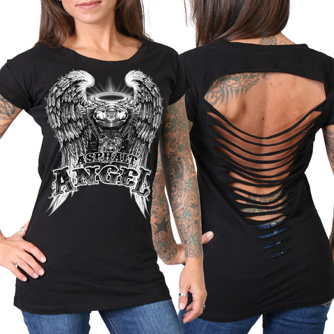 Hot Leathers Slit Back Asphalt Angel Ladies T-Shirt