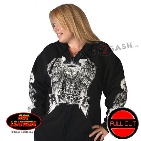 Hot Leathers Asphalt Angel Zip Up Hoodie Wings Hooded Sweatshirt