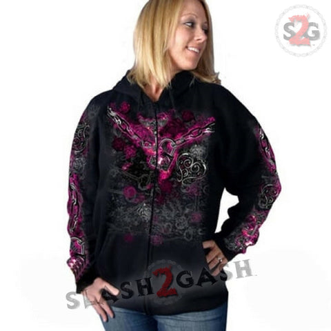 Hot Leathers Womens Unchained Heart Hooded Sweatshirt LIMITED