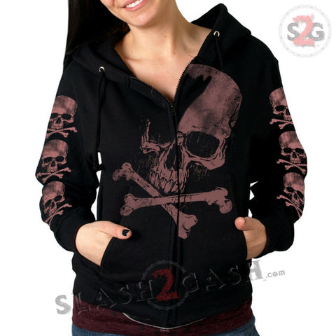 Hot Leathers Skull and Crossbones Jumbo Print Ladies Hooded Sweatshirt
