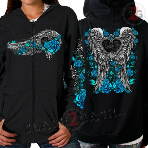 Hot Leathers Angel Roses Zip Up Hooded Ladies Sweat Shirt Wings