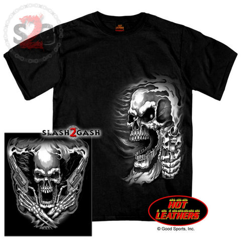 b9afaacf Hot Leathers Assassin Double Sided T-Shirt Skull & Smoking Pistols