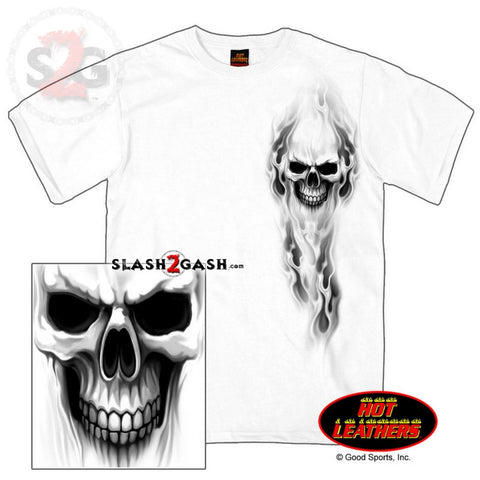 Hot Leathers Ghost Skull Double Sided T-Shirt Bob's Favorite Logo