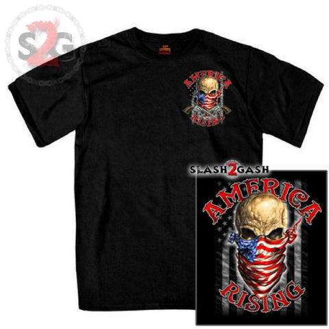 Hot Leathers Skull Bandana Double Sided T-Shirt America Rising