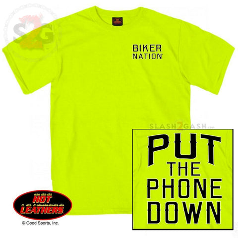 Hot Leathers Put The Phone Down Biker T-Shirt Safety Green Hi-Vis