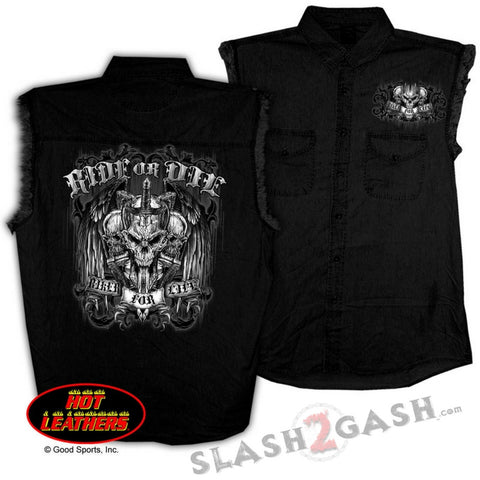 Hot Leathers Ride or Die Skull Sleeveless Denim Biker For Life Shirt