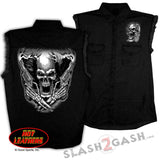Hot Leathers Assassin Sleeveless Denim Biker Shirt Skull & Pistols