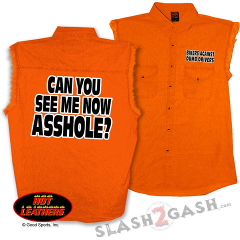 Hot Leathers Can You See Me Now Sleeveless Denim Biker Safety Shirt