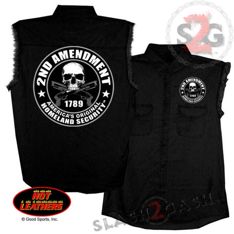 Hot Leathers 2nd Amendment Sleeveless Denim Biker Shirt