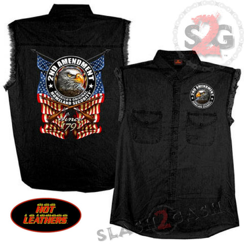 Hot Leathers New Down Flag Sleeveless Denim Button Up Biker Shirt