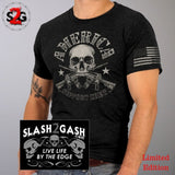 America Support Crew T-Shirt Skull and Crossed Guns American Flag Bullet Sleeve Print Custom slash2gash S2G