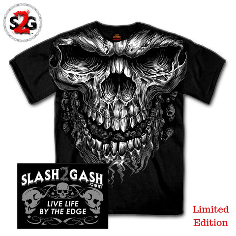 S2G Hot Leathers Shredder Skull Jumbo Print Shirt Custom slash2gash