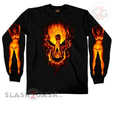Hot Leathers Devil Chicks Make Skull Long Sleeve Shirt LIMITED EDITION