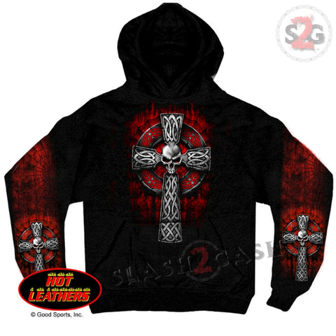 Hot Leathers Celtic Cross Hooded Sweatshirt Pull Over Hoodie Red Tribal Design