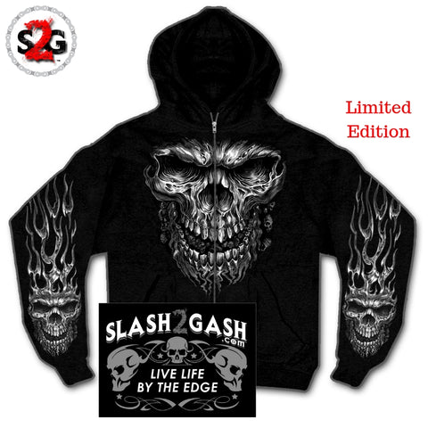 Slash2Gash S2G Hot Leathers Shredder Skull Hooded Sweatshirt Custom