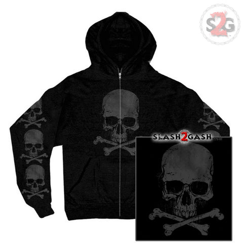 Hot Leathers Skull and Crossbones Zip-Up Hooded Sweat Shirt Hoodie