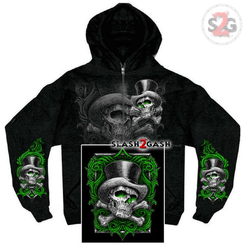 Hot Leathers Sweat Shirt Top Hat X Bones Zip Up Skull Crossbones Hoodie