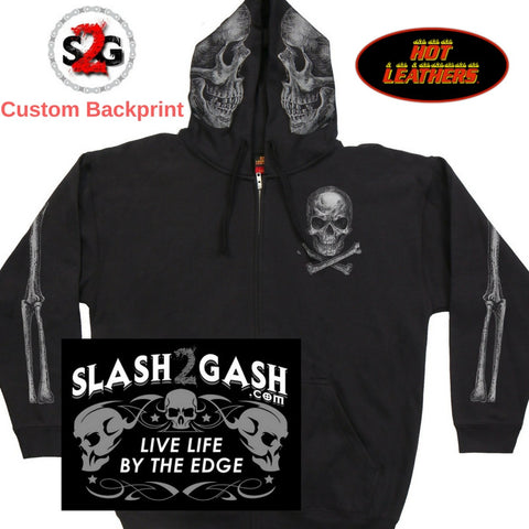 S2G Slash2gash Hot Leathers Jolly Roger Skull Hoodie Custom slash2gash Backprint