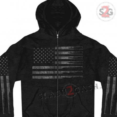 Hot Leathers American Flag Bullets Hooded Sweatshirt Patriotic Gun Loving Hoodie