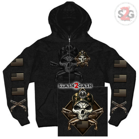 Hot Leathers 2nd Amendment Camo Skull Hooded Sweatshirt Crossed Shotguns Hoodie American Flag