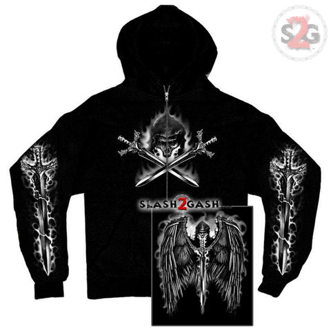 Hot Leathers Reaper Wings Zip-Up Hooded Sweat Shirt LIMITED EDITION
