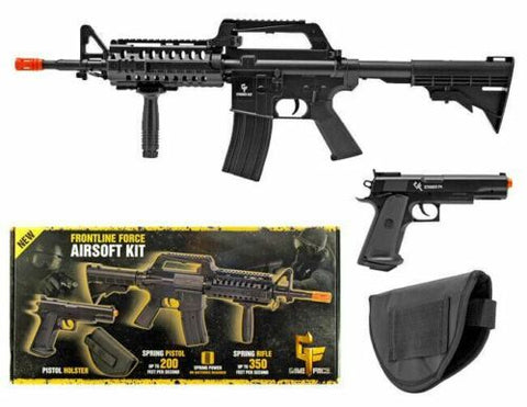 Game Face Spring Powered AR-15 350 FPS and 1911 Handgun Airsoft Kit