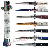 The Godfather Italian Stiletto Automatic Knife Classic Mafia Switchblade - w/ Acrylic Marble Pearl Wood 8 Colors