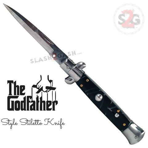 The Godfather Italian Stiletto Automatic Knife Classic Mafia Switchblade - Black Marble Acrylic Pearl