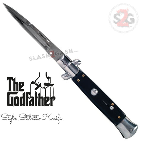 The Godfather Italian Stiletto Automatic Knife Classic Mafia Switchblade - Black Acrylic
