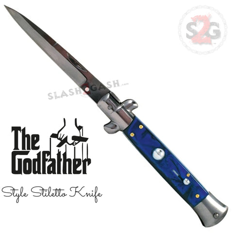 Godfather Stiletto Automatic Knife Classic Switchblade - Blue Marble Acrylic Pearl