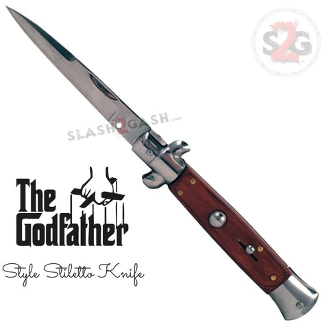 Godfather Stiletto Automatic Knife Classic Switchblade - Rosewood
