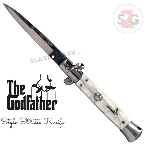 Godfather Stiletto Automatic Knife Classic Switchblade - White Marble Acrylic Pearl