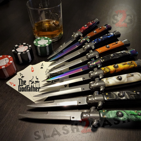 Godfather Stiletto Knife Automatic Classic Switchblade Knives - UPGRADED Spring, Best Version 21 Colors slash2gash S2G